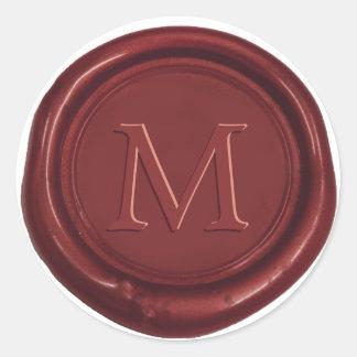 Red Wax Monogram Classic Wedding Favor Red Seal Round Sticker