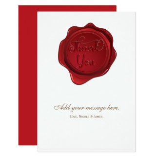 Red Wax Seal Elegant Formal Wedding Thank You Card