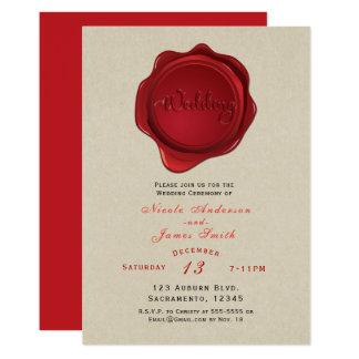 Red Wax Seal Elegant Kraft Brown Rustic Wedding Card