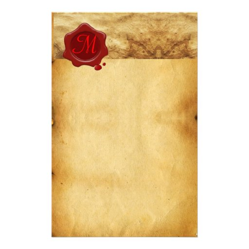 RED WAX SEAL PARCHMENT Monogram Stationery Design