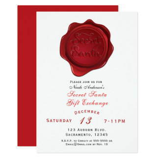 Red Wax Seal Secret Santa Holiday Christmas Party Card