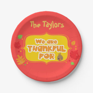 Red We are Thankful For Thanksgiving Paper Plate