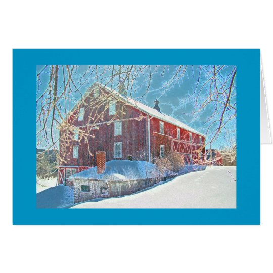 Red Weathered Barn in Snow Card