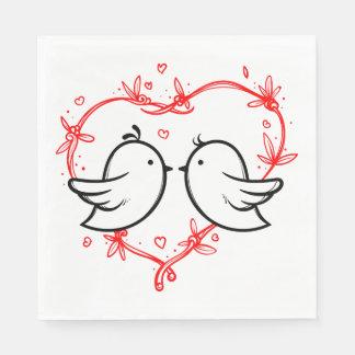 Red Wedding Black Lovebirds & Heart Bridal Shower Paper Napkin