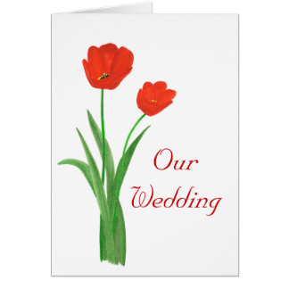 Red Wedding Invitations Cards, Tulips