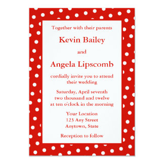 Red Wedding Invitations or Announcements - Dots