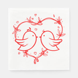 Red Wedding Lovebirds & Heart Bridal Shower Party Disposable Napkin