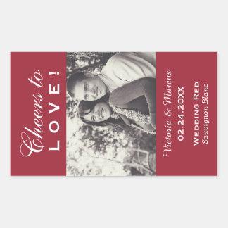 Red Wedding Photo Wine Bottle Favour Sticker