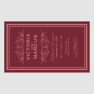 Red Wedding Wine Bottle Monogram Favor Labels