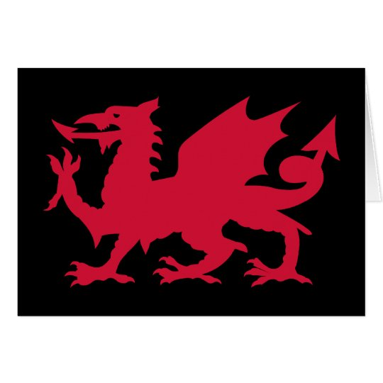 Red Welsh Dragon Card