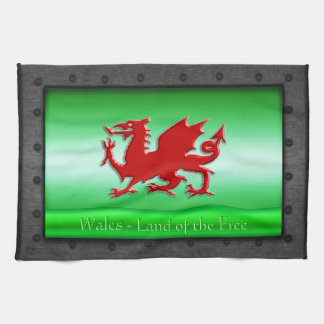 Red Welsh Dragon, riveted steel frame with green Kitchen Towel