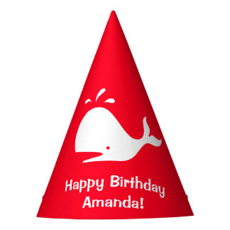 Red Whale Birthday 4Amanda (Name) Party Hat
