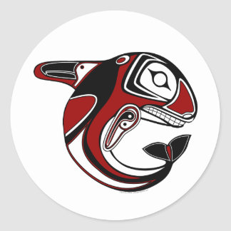 Red Whale Totem Stickers