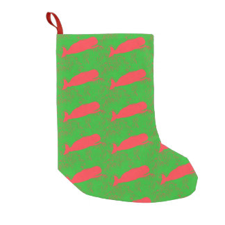 red whales green christmas stocking