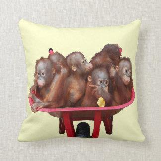 Red Wheelbarrow Orangutan Babies Throw Pillow