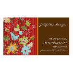 Red Whimsical Floral Garden Nature Bird Flowers Business Cards