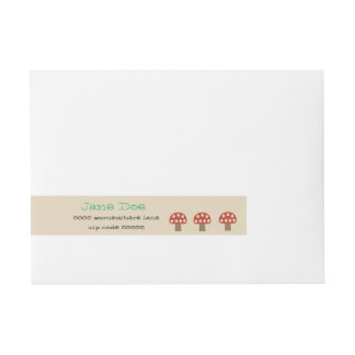 Red Whimsical Mushrooms wrap around address labels Wraparound Address Label