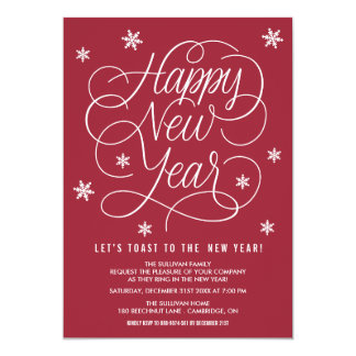Red Whimsical New Year's Eve Party Invitation