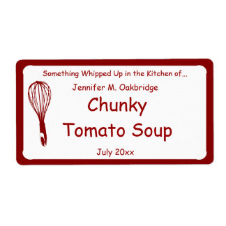 Red Whisk Personalized Homemade Food Shipping Label