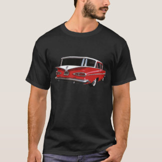 Red & White 1959 Chevy Wagon Rear View T-Shirt
