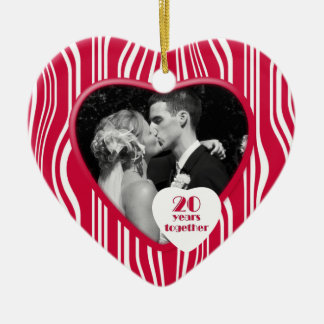 Red & White 20 Years Together Anniversary Ornament