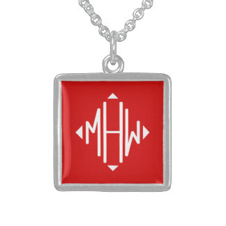 Red White 3 Initials Diamond Shape Monogram Personalized Necklace