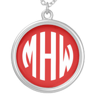 Red White 3 Initials in a Circle Monogram Necklaces