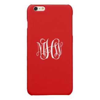 Red White 3 Initials Vine Script Monogram