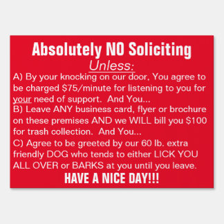 Red White Absolutely No Soliciting Sign