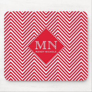 Red & White Abstract Chevron Pattern Mouse Pad