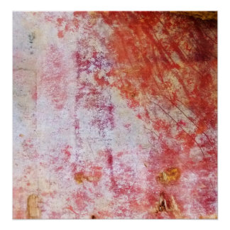 Red & White Abstract Grungy Painting Poster
