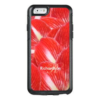 Red White Amaryllis Flower Petals Custom Monogram OtterBox iPhone 6/6s Case