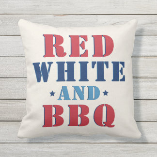 Red White and BBQ | Fourth of July Outdoor Pillow