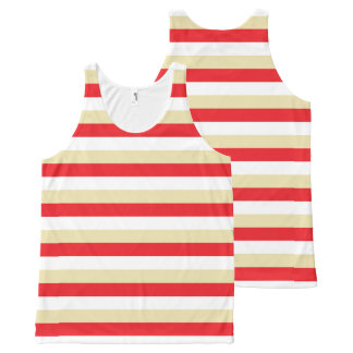 Red, White and Beige Stripes All-Over-Print Tank Top
