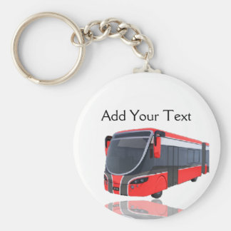 Red White and Black Bus on White Basic Round Button Keychain