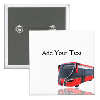 Red White and Black Bus on White 2 Inch Square Button