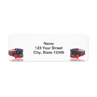 Red White and Black Bus on White Return Address Label