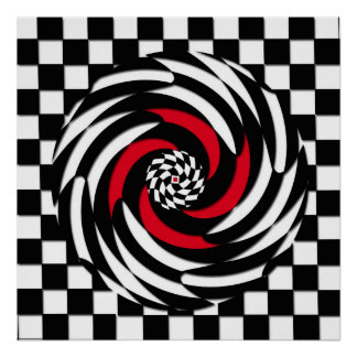 Red, White and Black Checker Vortex Print