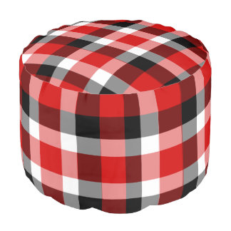 Red White and Black Checkered Plaid Pouf