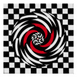 Red, White and Black Chequered Vortex Print
