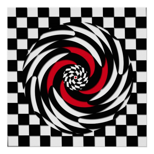 Red, White and Black Chequered Vortex Print