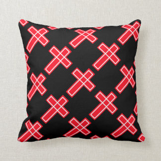 Red white and black Christian cross Throw Pillow