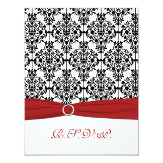 "Red, White and Black Damask II RSVP Card 4.25"" X 5.5"" Invitation Card"