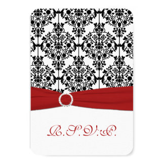 "Red, White and Black Damask Reply Card 2 3.5"" X 5"" Invitation Card"