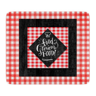 Red White and BLack Food Lovers Checkered Cutting Board