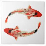 Red, White, and Black Koi Fish Tile