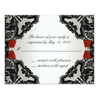 """Red, white and Black lace Wedding RSVP 4.25"""" X 5.5"""" Invitation Card"""