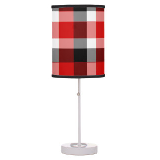 Red White and Black Plaid Shaded Table Lamp
