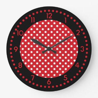 Red, White, and Black Polka Dot Clock w/Numbers