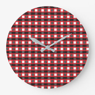 Red, White and Black Static Weave Large Clock